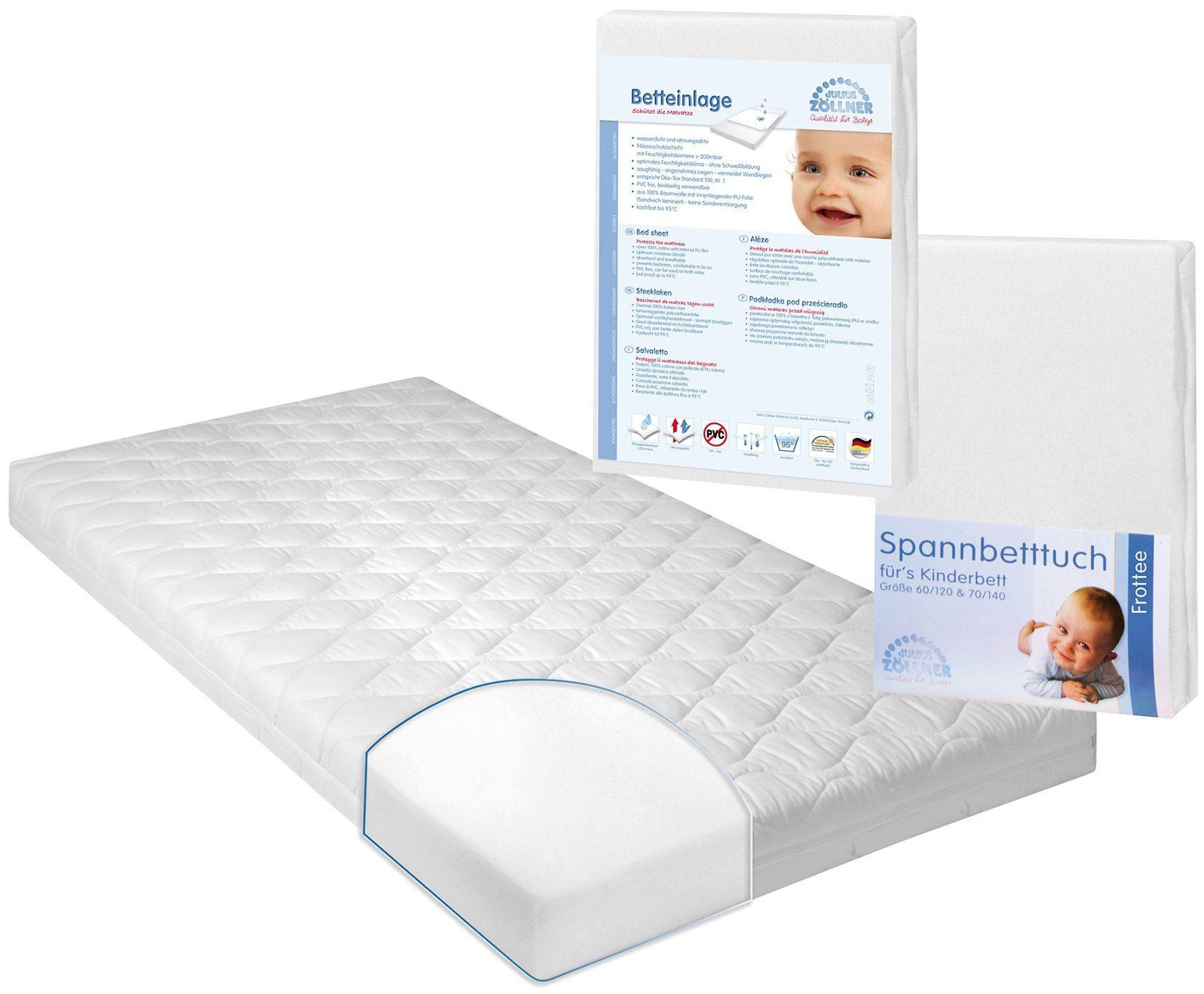 Set: Matratze für Babys & Kleinkinder, & Auflage Spannbetttuch, »Jan 1«, Zöllner (3-tlg.), 8 cm hoch