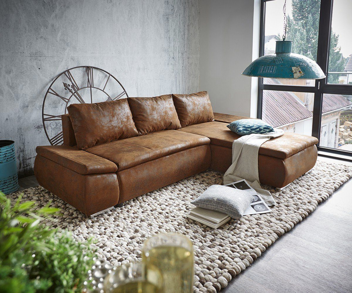 DELIFE Couch Abilene Braun 260x175 mit Bettfunktion Ottomane variabel