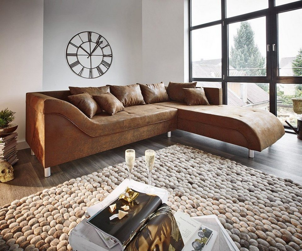 DELIFE Couch Cadiz Braun 261x204 Antik Optik Keder Ottomane Rechts