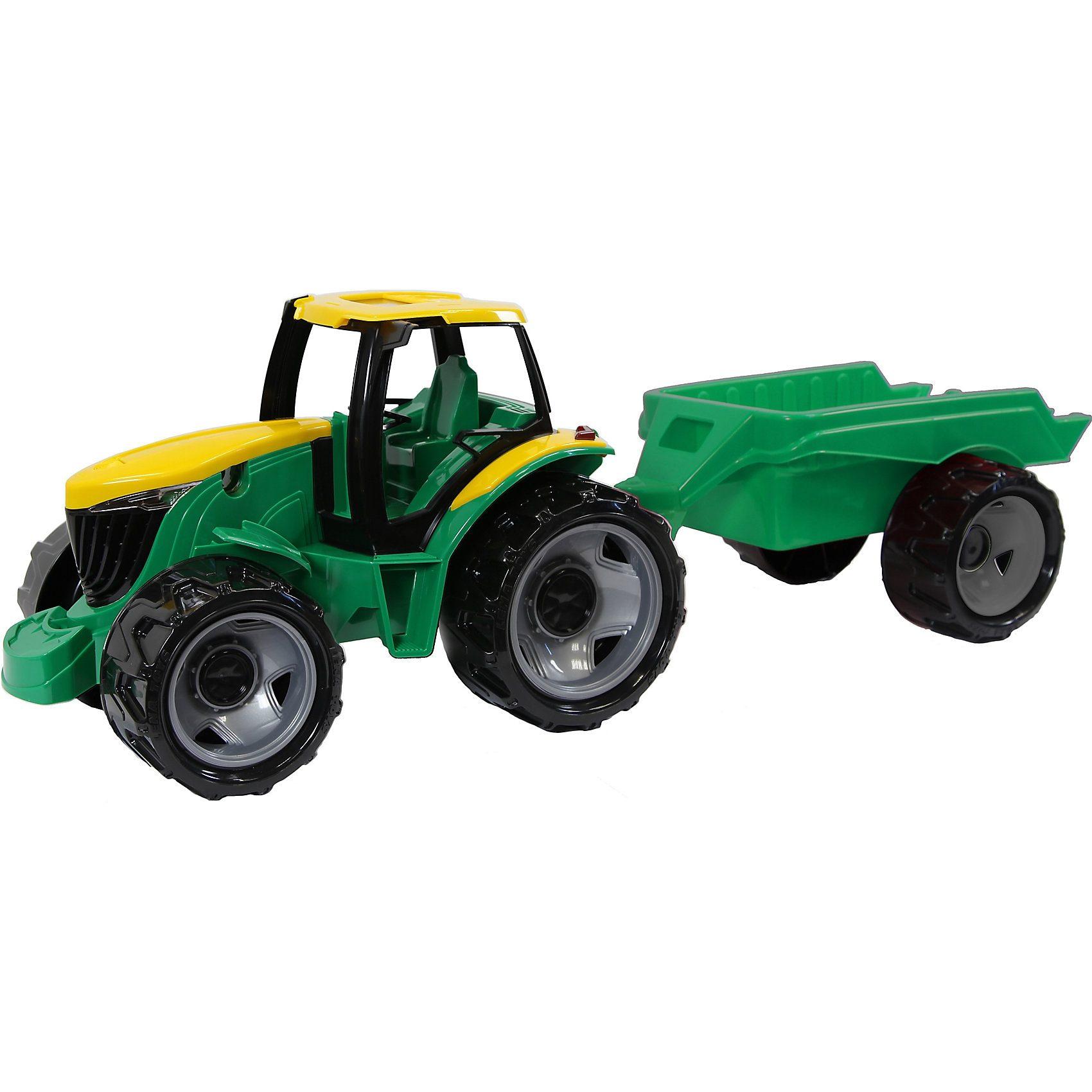 LENA Traktor ohne Schaufel mit Anhänger, Länge 48 cm