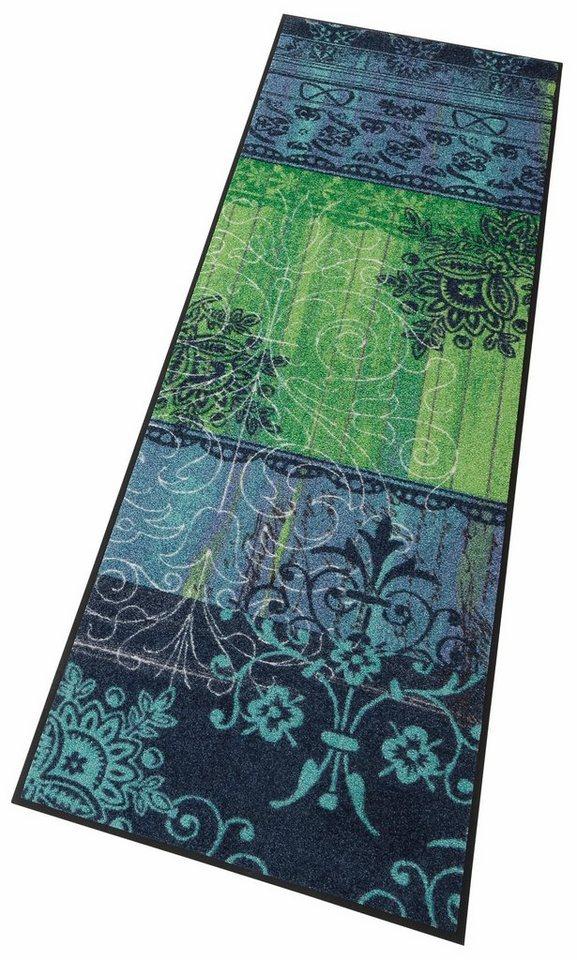 Läufer »Borda«, wash+dry by Kleen-Tex, rechteckig, Höhe 7 mm in grün-blau