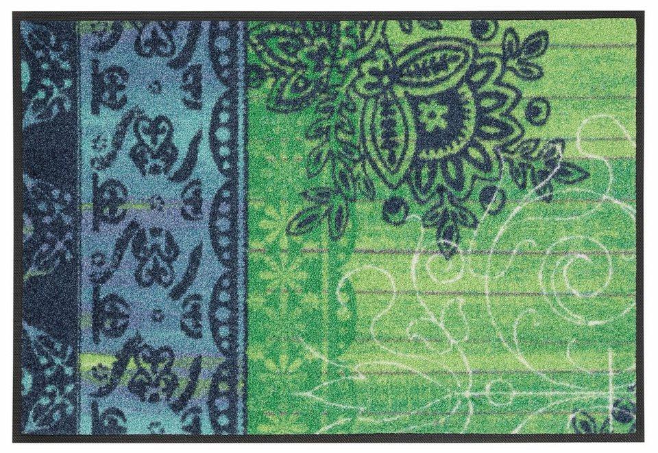Fußmatte, wash+dry by Kleen-Tex, »Borda«, rutschhemmend beschichtet in grün-blau