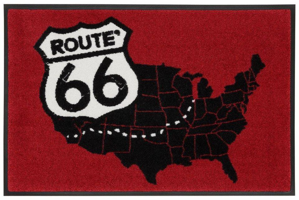 Fußmatte, wash+dry by Kleen-Tex, »Road Map«, rutschhemmend beschichtet in rot-schwarz