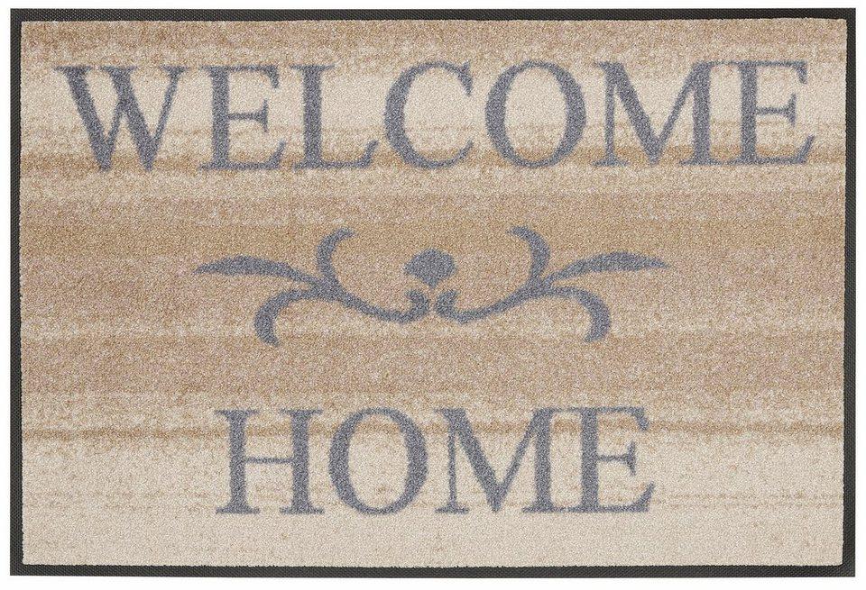 Fußmatte, wash+dry by Kleen-Tex, »Welcome Home«, rutschhemmend beschichtet in beige-grau