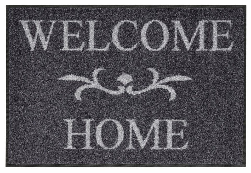 Fußmatte »Welcome Home«, wash+dry by Kleen-Tex, rechteckig, Höhe 7 mm in grau