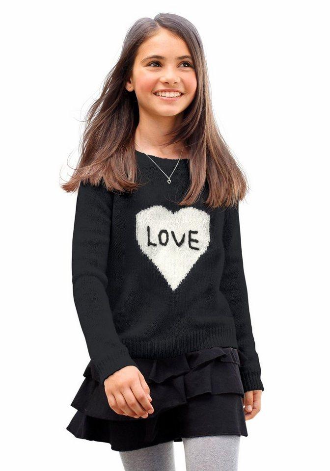 CFL Strickpullover mit Herz-Motiv in schwarz