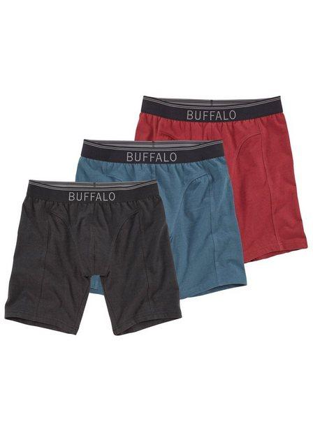 Herren Buffalo Baumwoll Boxer lang (3 Stück) mit Logodruck im Webbund bunt,mehrfarbig | 04893962293445