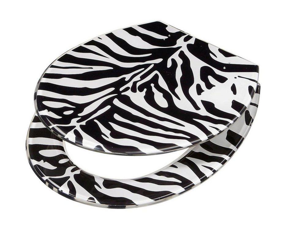 WC-Sitz »Zebra« in schwarz, weiß