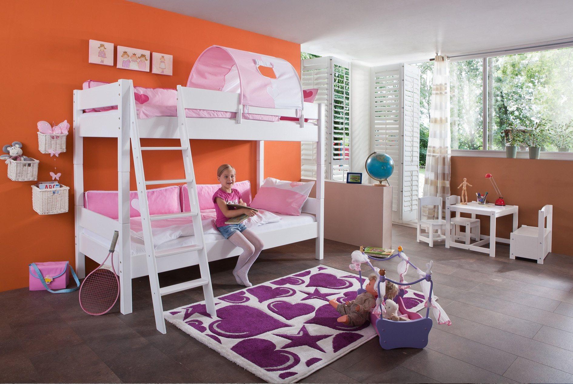 Relita Einzel-/Etagenbett, Set >>Stefan<< | Kinderzimmer > Kinderbetten > Etagenbetten | Weiß | Buche - Massiv | Relita