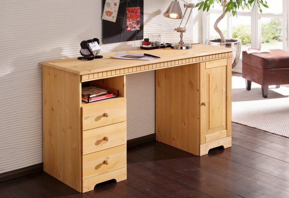 schreibtisch aus holz massivholz online kaufen otto. Black Bedroom Furniture Sets. Home Design Ideas