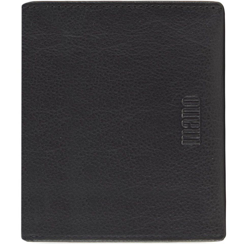 mano Medio Geldbörse Leder 9,5 cm in schwarz