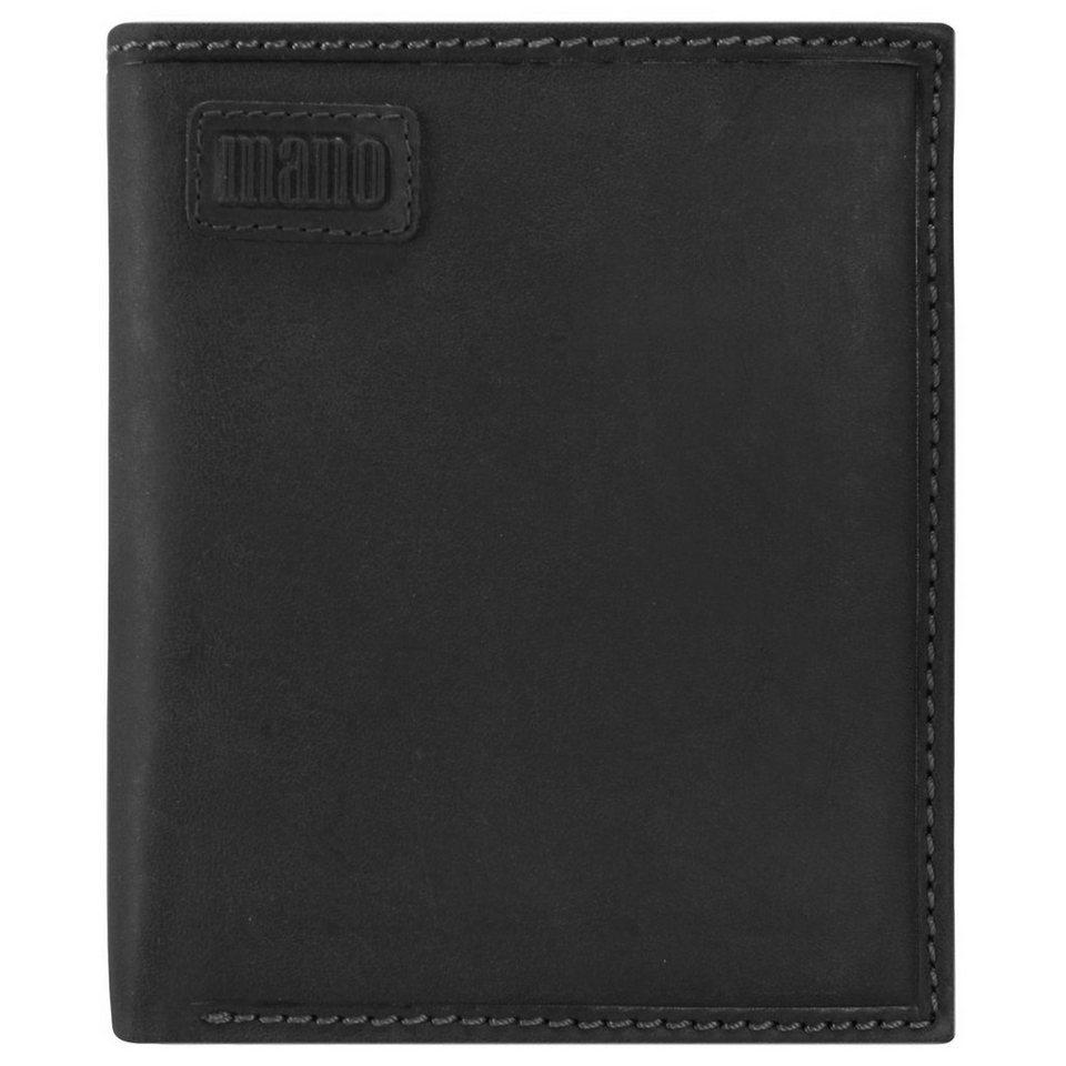 mano Nota Geldbörse Leder 10,5 cm in schwarz
