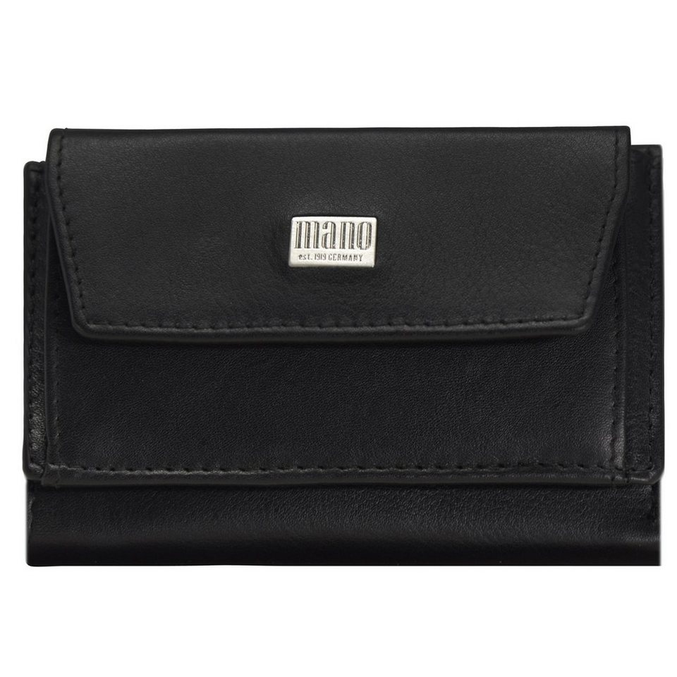 mano Linea Geldbörse Leder 10 cm in schwarz