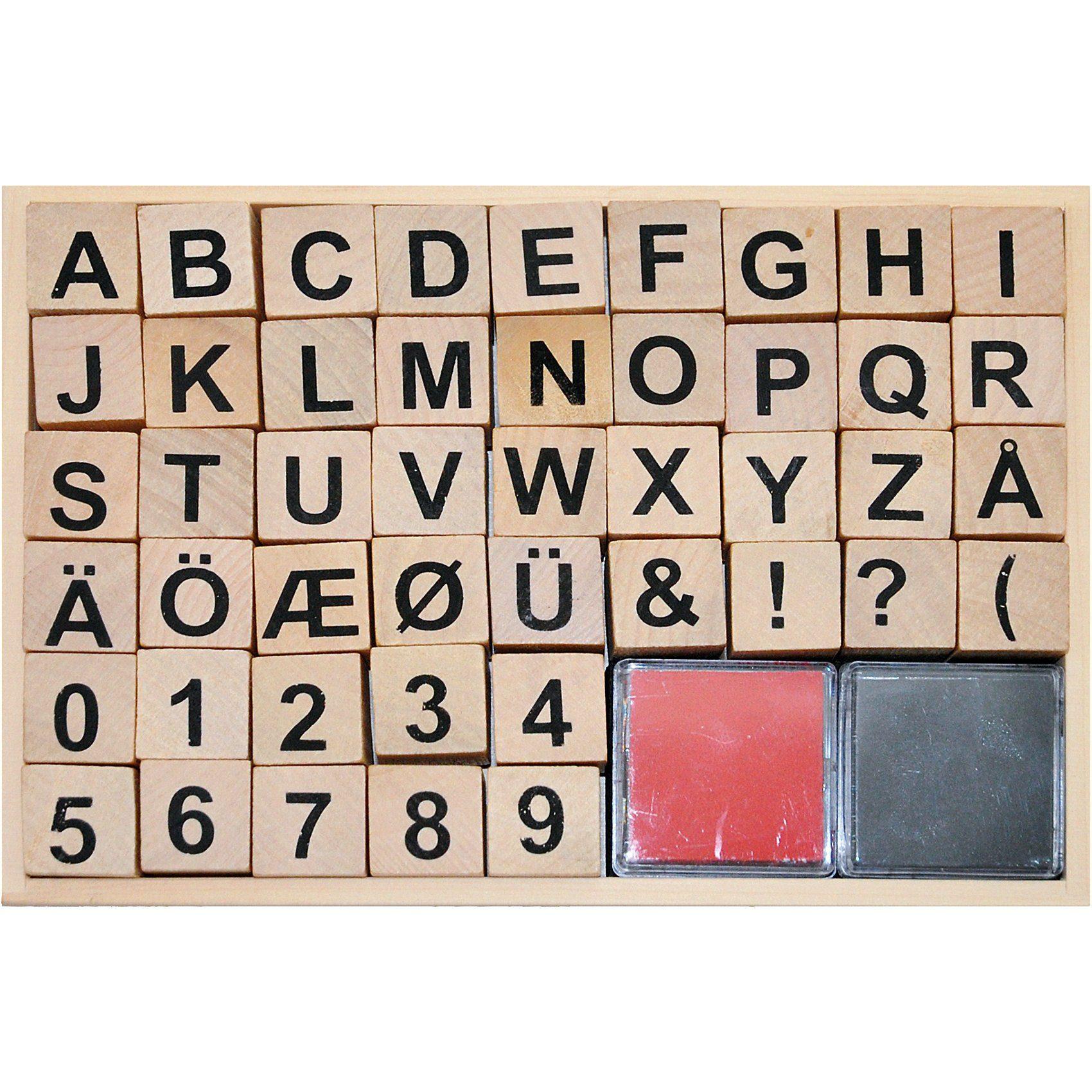 Playbox Holzstempelset Buchstaben & Zahlen