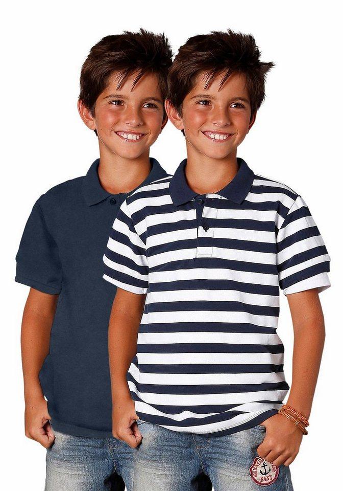 Arizona Poloshirt (Packung, 2 tlg.) in marine+marine-weiß-gestreift