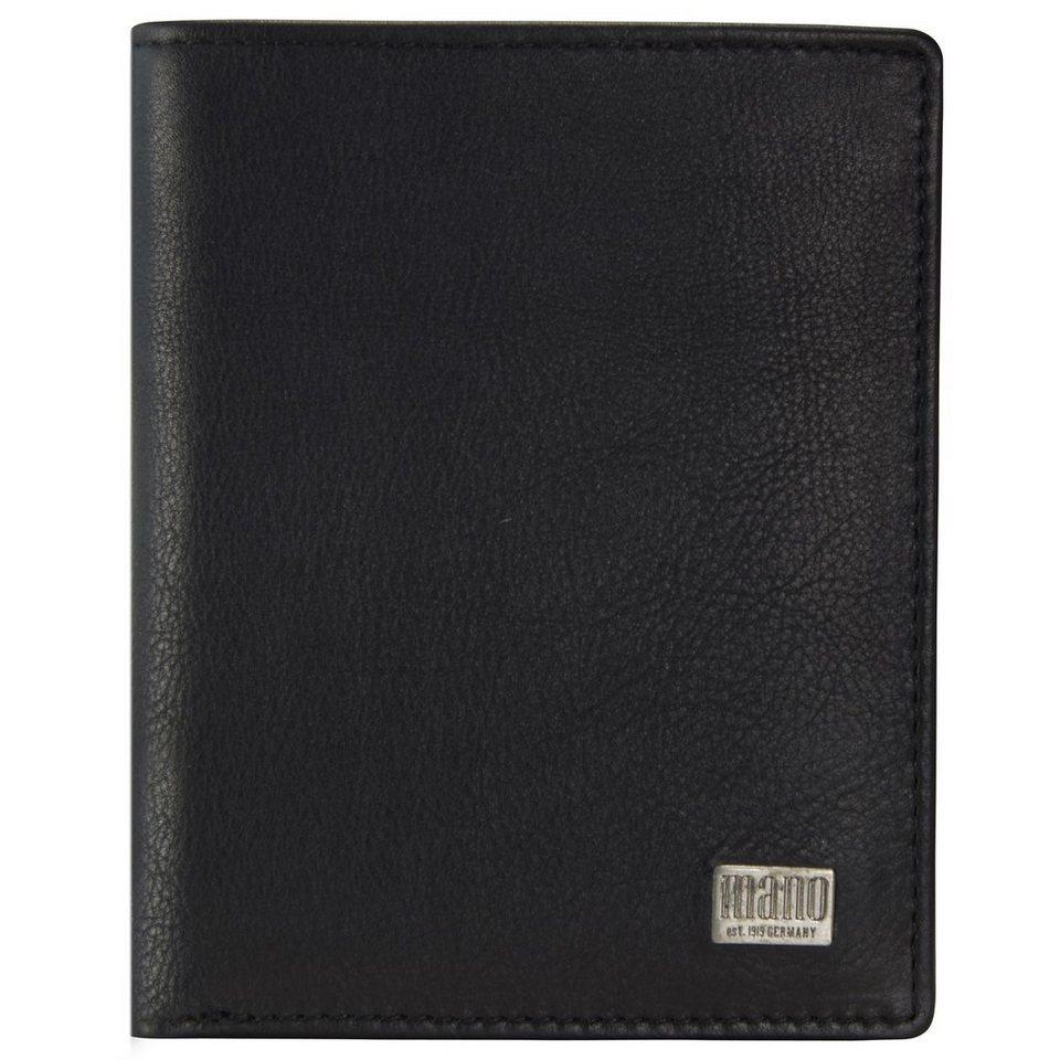 mano Linea Geldbörse Leder 9 cm in schwarz