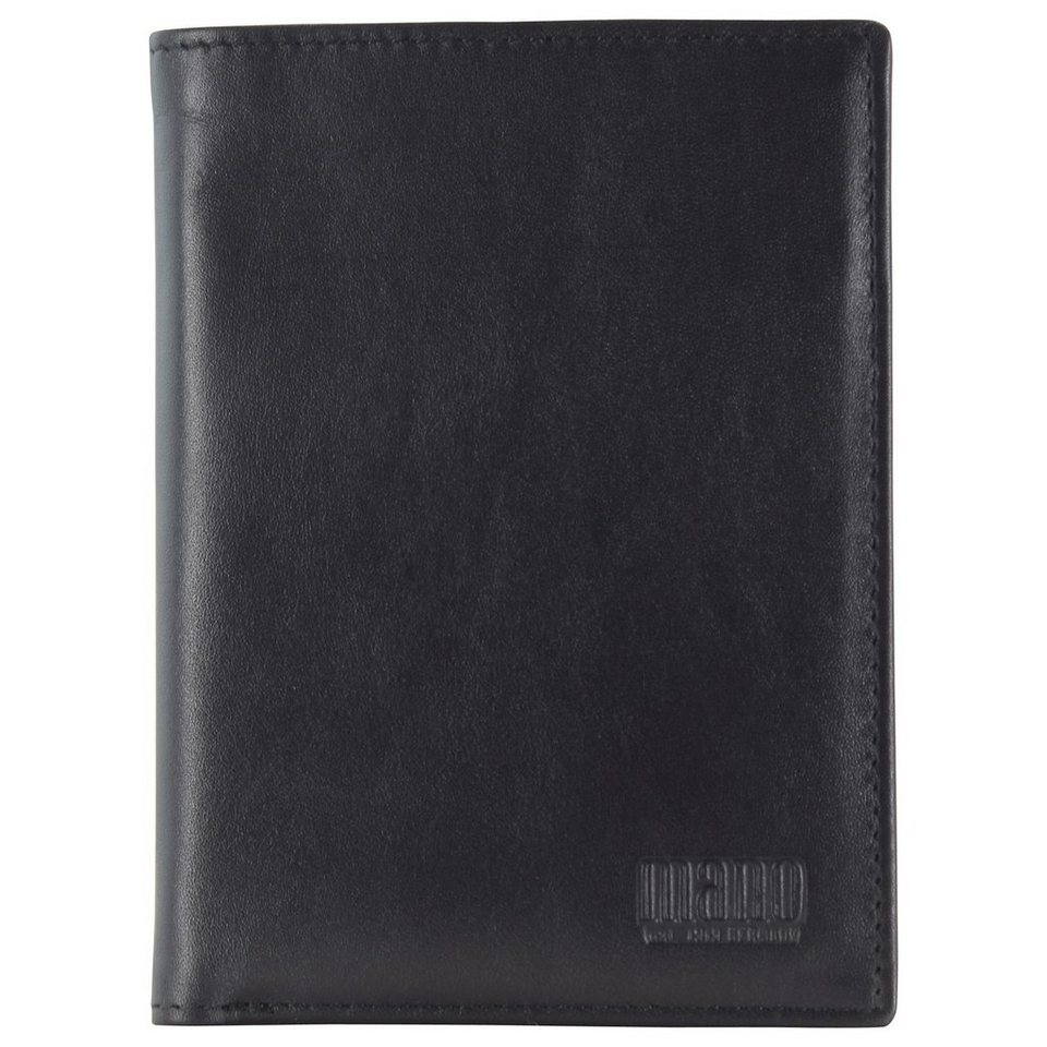 mano Planus Geldbörse Leder 9,5 cm in schwarz