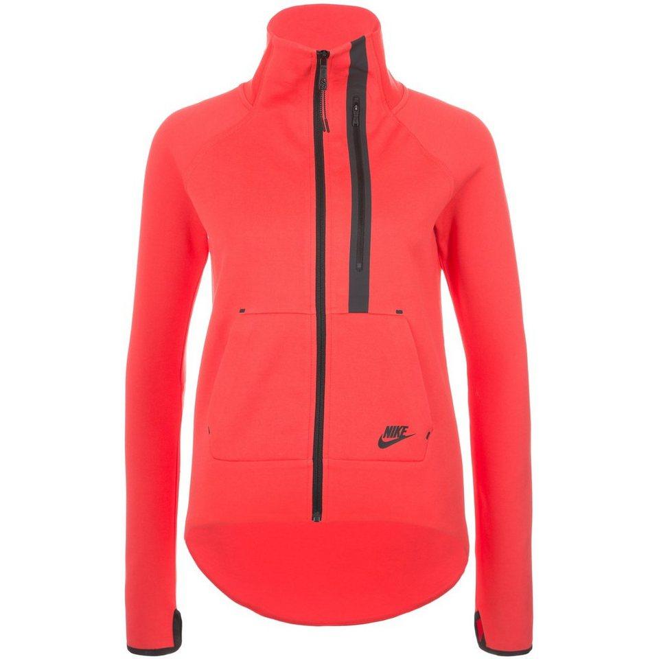 Nike Sportswear Tech Fleece Moto Freizeitjacke Damen in rot / schwarz