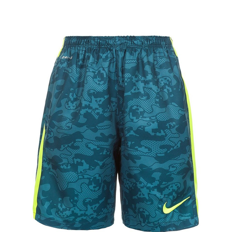 NIKE Graphic Strike Premium Longer Short Kinder in blaugrün / lime