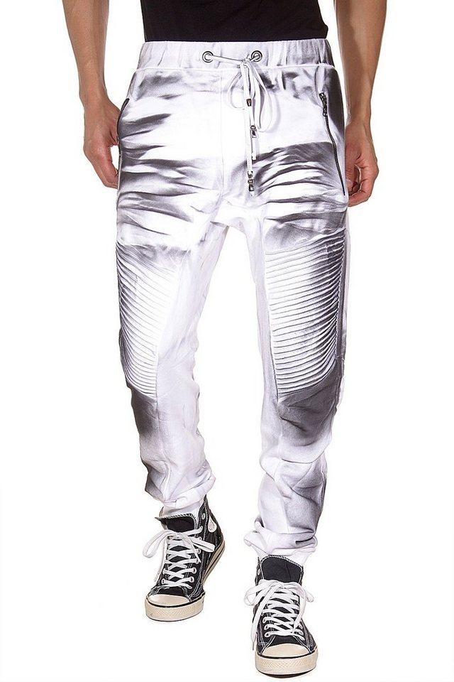 KINGZ Workout Pants regular fit in weiss/schwarzindigo