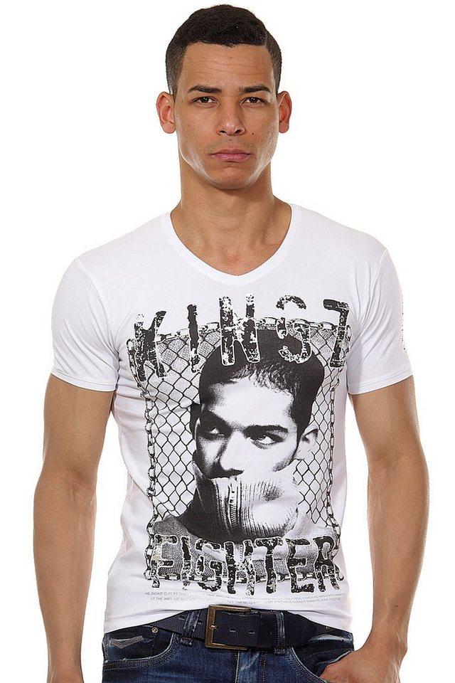 KINGZ T-Shirt V-Ausschnitt slim fit in weiss