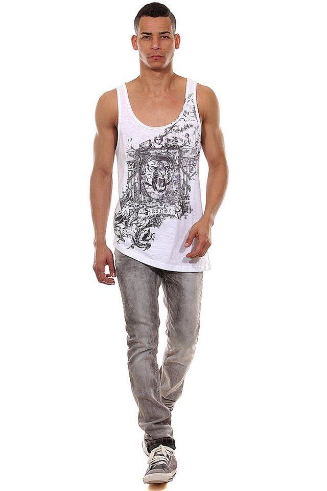 KINGZ Tanktop slim fit in weiss