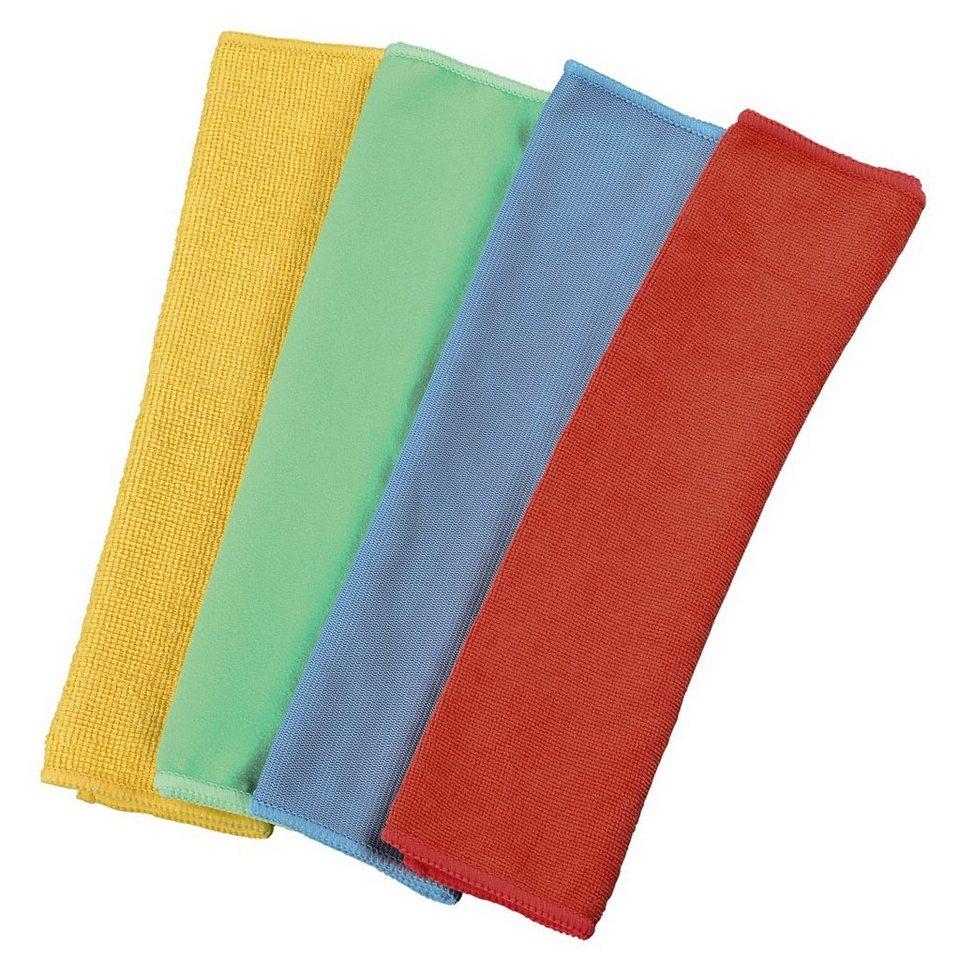 Xavax Mikrofasertücher, 30 x 30 cm, Blau/Grün/Gelb/Rot in Color set