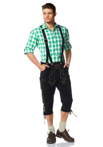 Herren Wiesenprinz Trachtenlederhose Verstellbändchen an Taille und Hosenbund schwarz | 04051845011788
