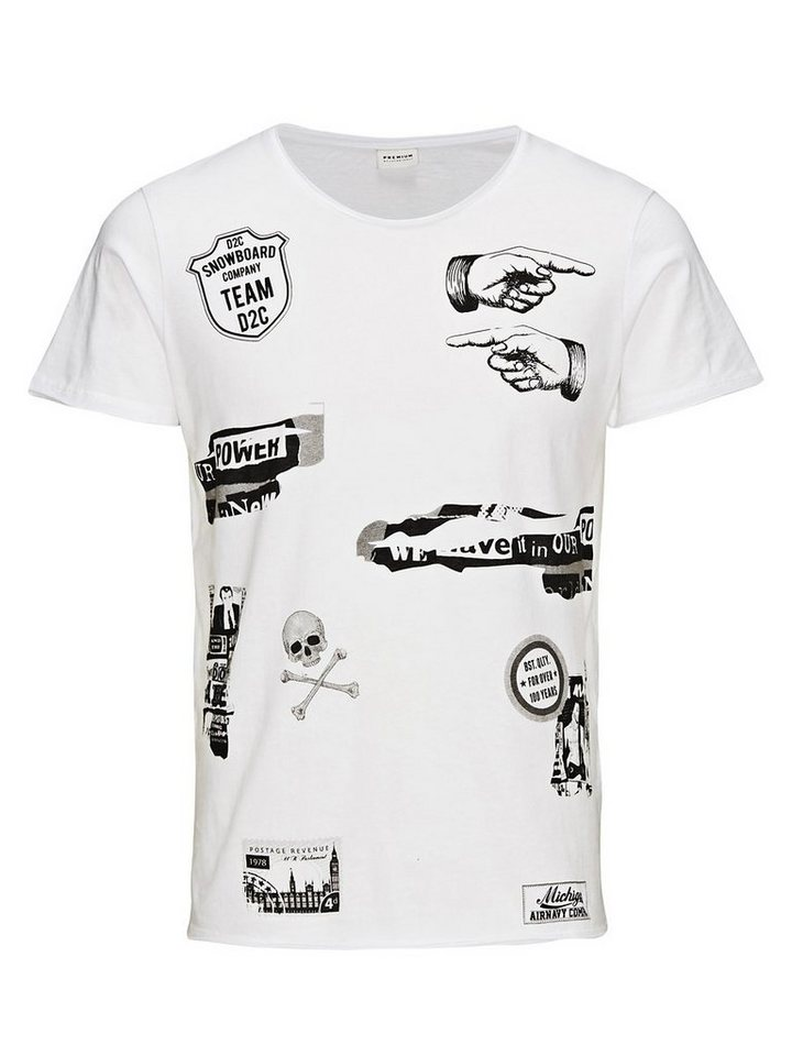 Jack & Jones Schwarz-/Weißaufdruck T-Shirt in White