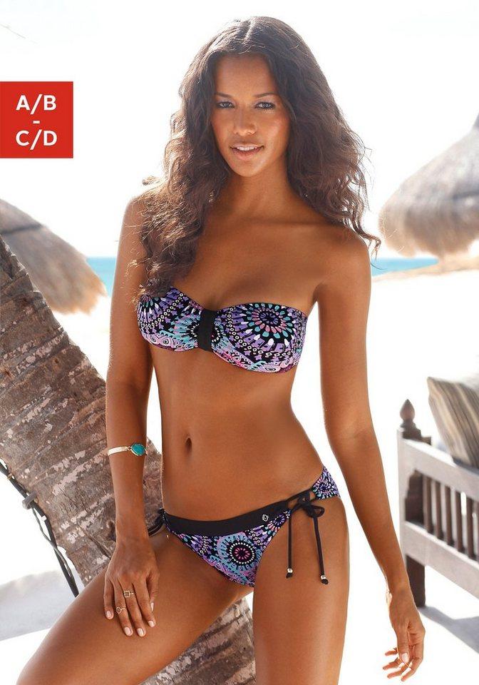 Bandeau-Bikini, s.Oliver RED LABEL Beachwear in schwarz-bunt