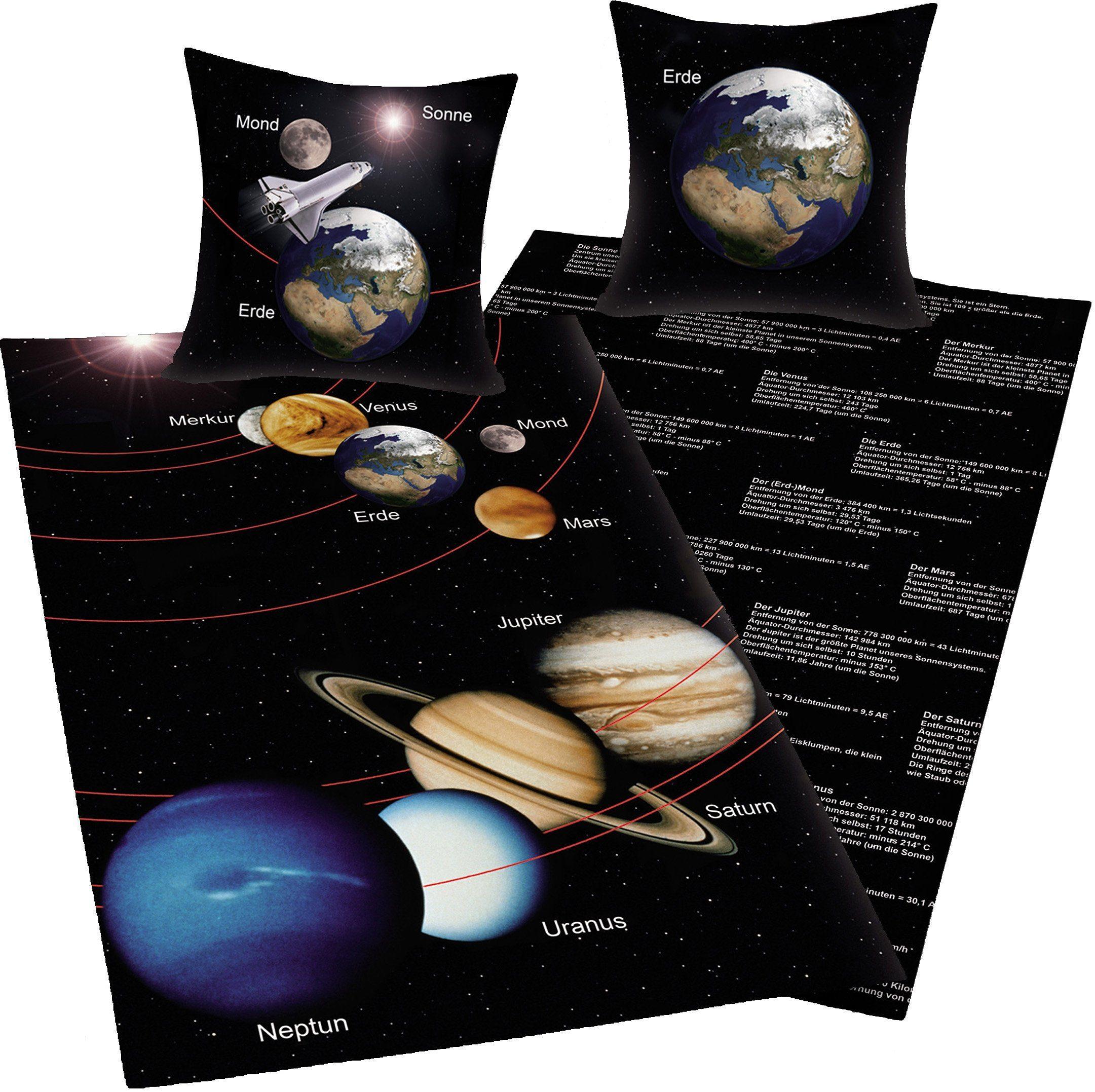 Bettwäsche, Young Collection, »Sonnensystem«, mit Infotexten