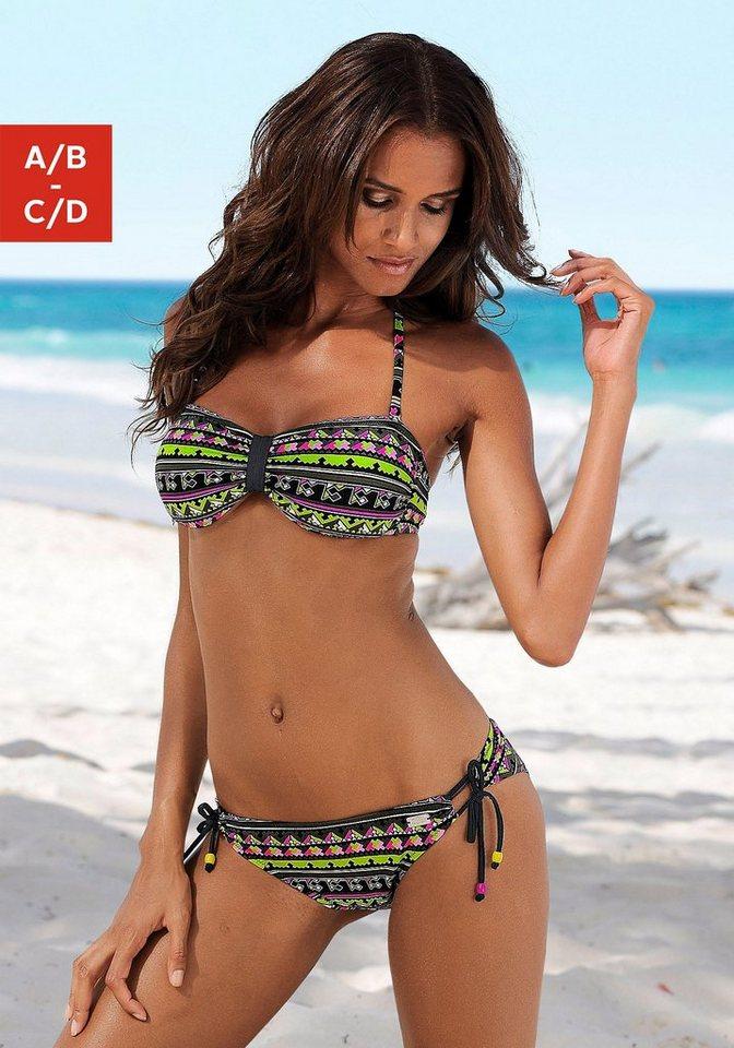 Damen Buffalo Bandeau-Bikini mit kleinen Schleifen an der Hose schwarz | 08031781204754