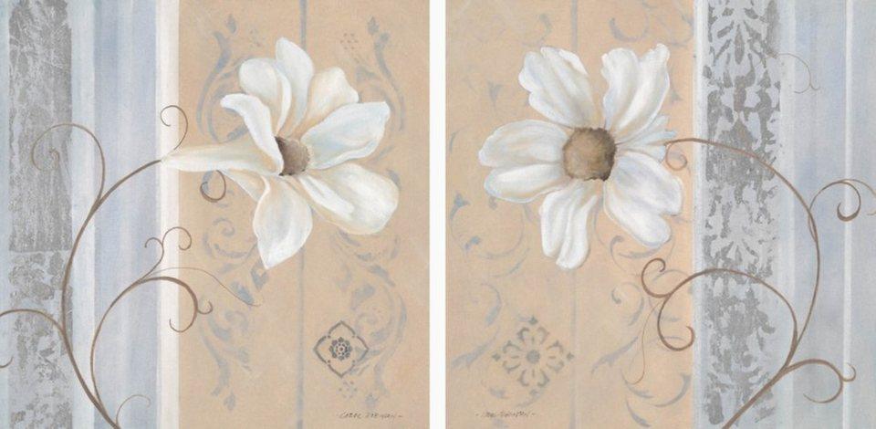 Home Affaire Bild Kunstdruck »White Flowers I/II«, (2-tlg.) in creme/grau
