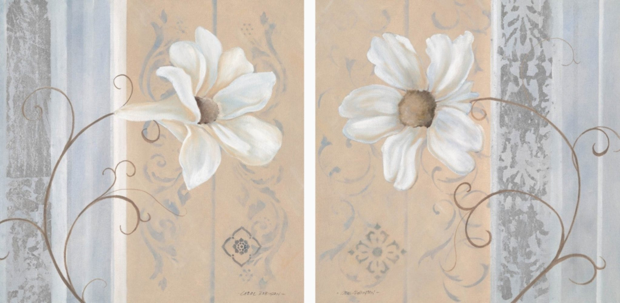 Home Affaire Bild Kunstdruck »White Flowers I/II«, (2-tlg.)