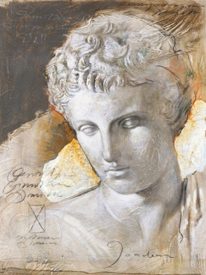 Home Affaire Bild Kunstdruck »JOADOOR / Mythologie II (Druck mit Silberfolie)«, 60/80 cm in beige/grau