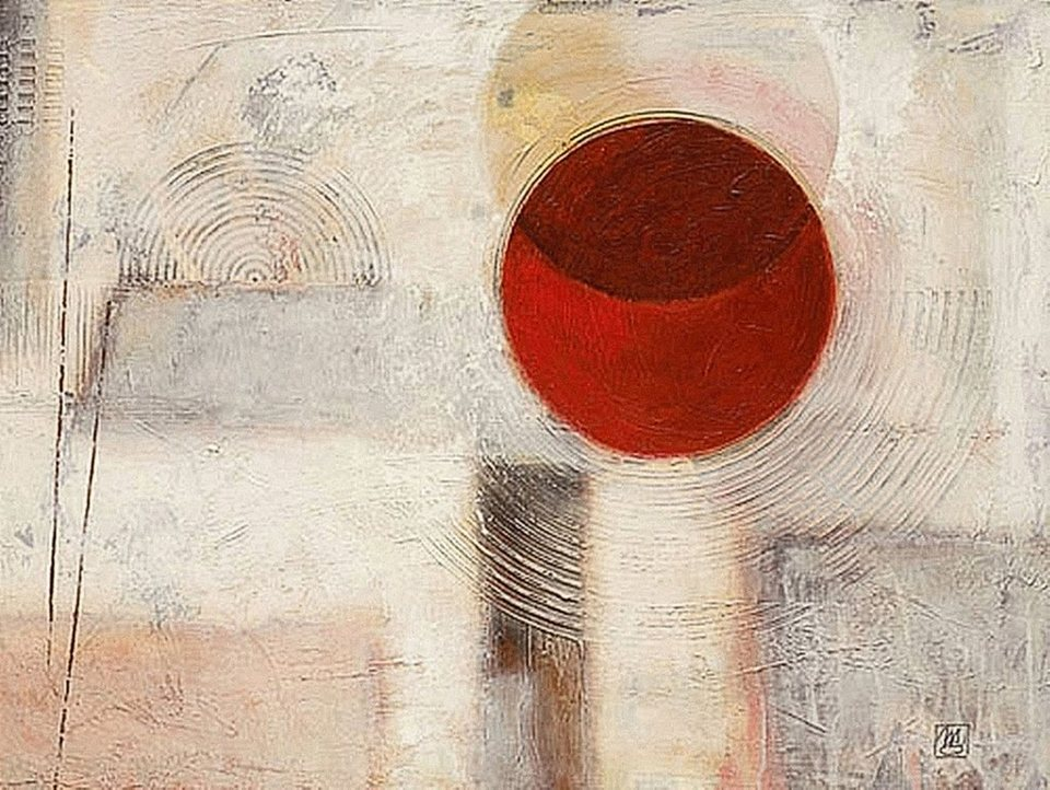 Home Affaire Bild Kunstdruck »Abstract I«, 80/60 cm in creme/rot