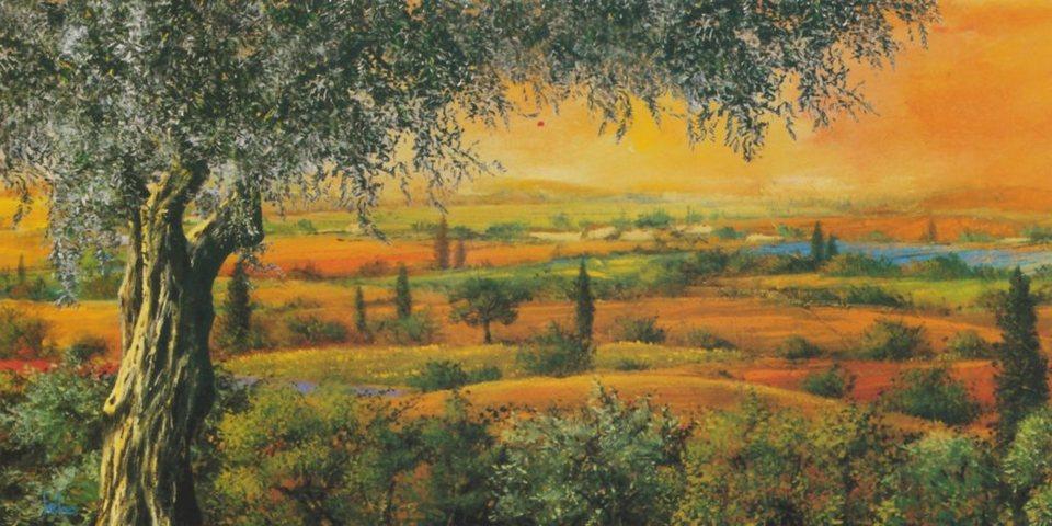 Home Affaire Bild Kunstdruck »Tebo Marzari, Vallata degli ulivi«, 100/50 cm in orange/grün