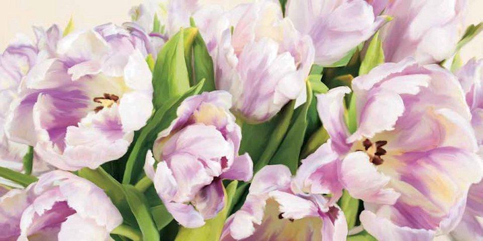 Home Affaire Bild Kunstdruck »Luca Villa, Tulipes en Fleur«, 100/50 cm in lila/grün