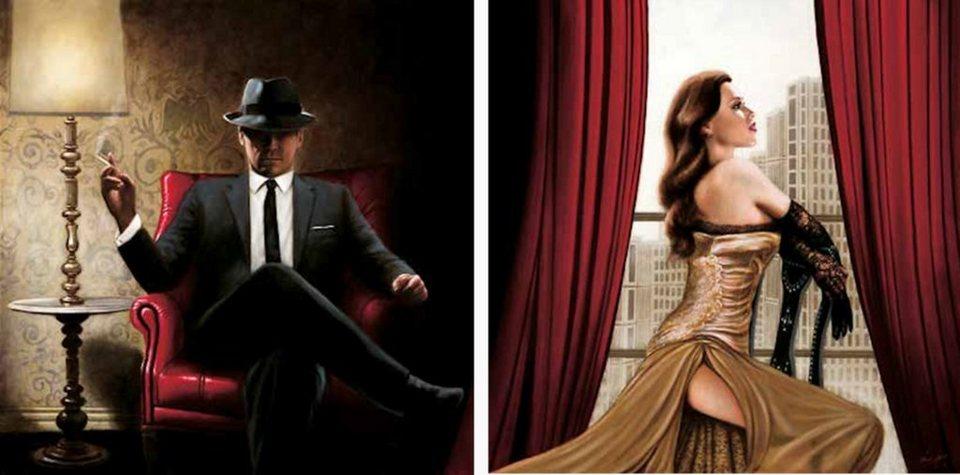 Home Affaire Bild Kunstdruck »John Silver, Black Tie, high Heels«, (2-tlg.) in schwarz/rot