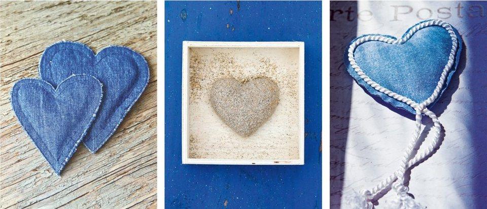 Home Affaire Bild Kunstdruck »Blue Hearts I-III«, (3-tlg.) in blau/beige