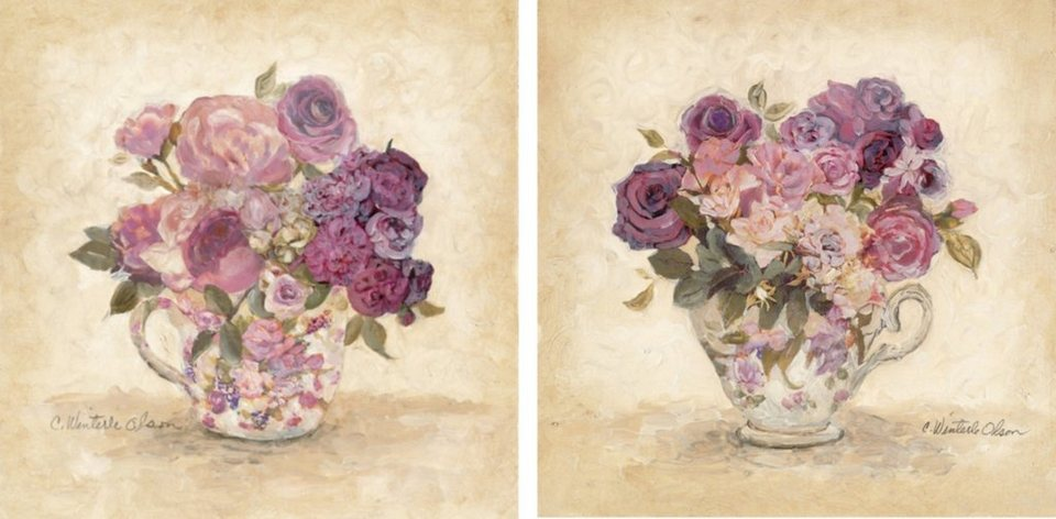 Home Affaire Bild Kunstdruck »C. Winter Olson, Blütenpracht I/II«, (2-tlg.) in flieder/beig