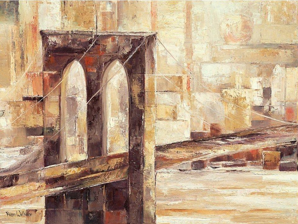 Home Affaire Bild Kunstdruck »Brooklyn Bridge«, in 2 Größen in beige/braun