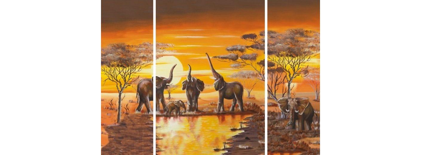 Home Affaire Bild Kunstdruck »Elefantentränke«, (3-tlg.)