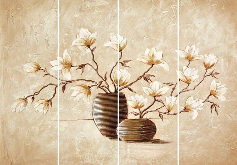 Home Affaire Bild Kunstdruck »Vasen mit Magnolien«, (4-tlg.) in creme/braun