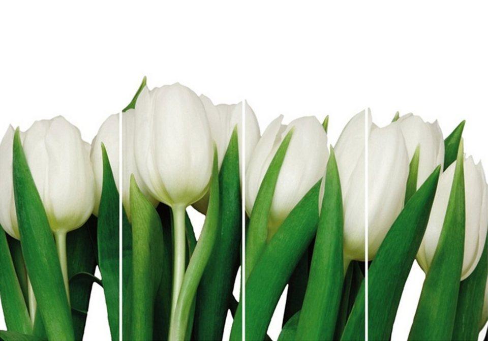 Home Affaire Bild Kunstdruck »Weiße Tulpen«, (4-tlg.) in weiß/grün