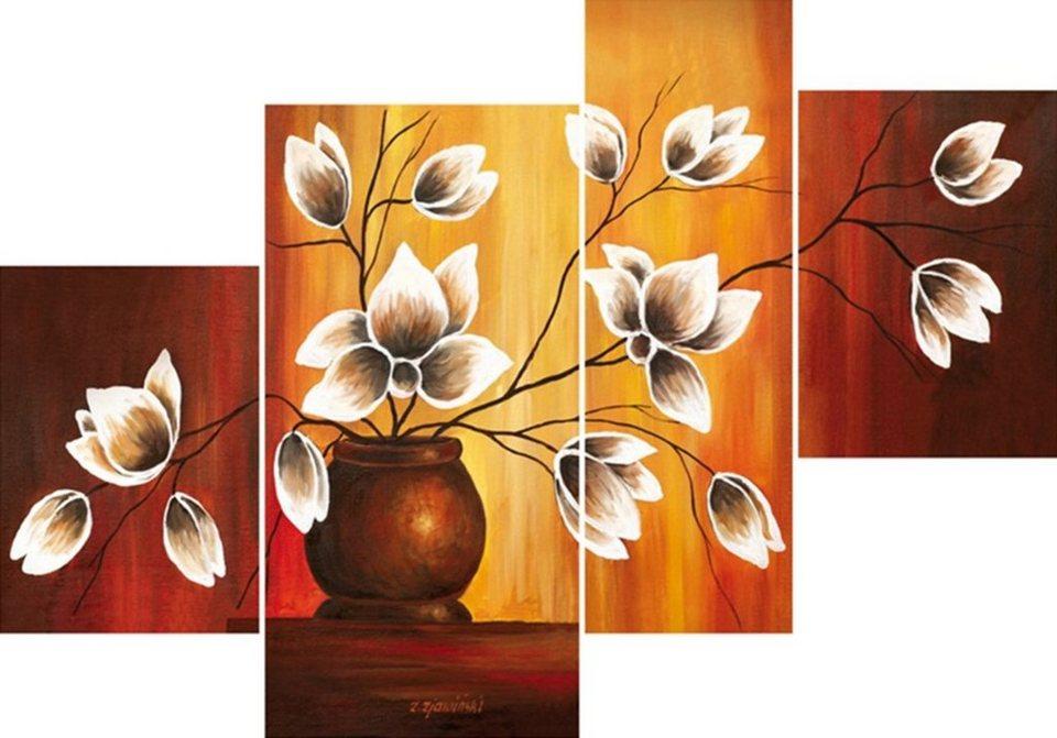 Home Affaire Bild Kunstdruck »Vase mit Magnolien«, (4-tlg.) in bunt