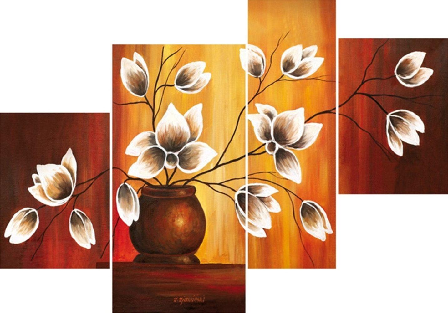 Home Affaire Bild Kunstdruck »Vase mit Magnolien«, (4-tlg.)