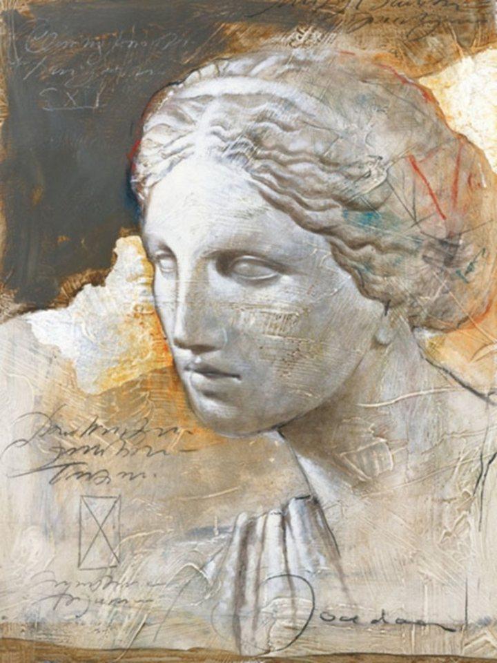 Home Affaire Bild Kunstdruck »JOADOOR / Mythologie I (Druck mit Silberfolie)«, 60/80 cm in beige/grau