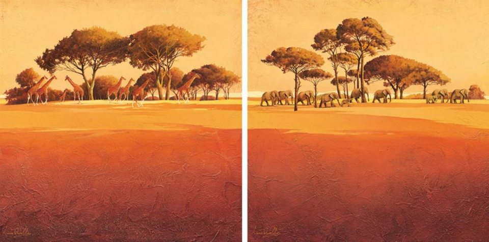 Home Affaire Bild Kunstdruck »Serengeti I/II«, (2-tlg.) in orange