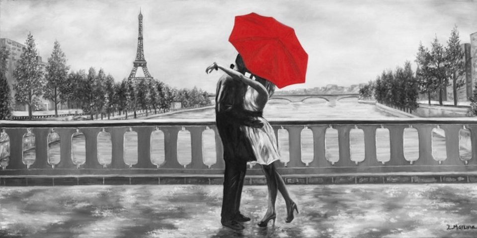 Home Affaire Bild Kunstdruck »Romantic«, 100/50 cm in grau/rot